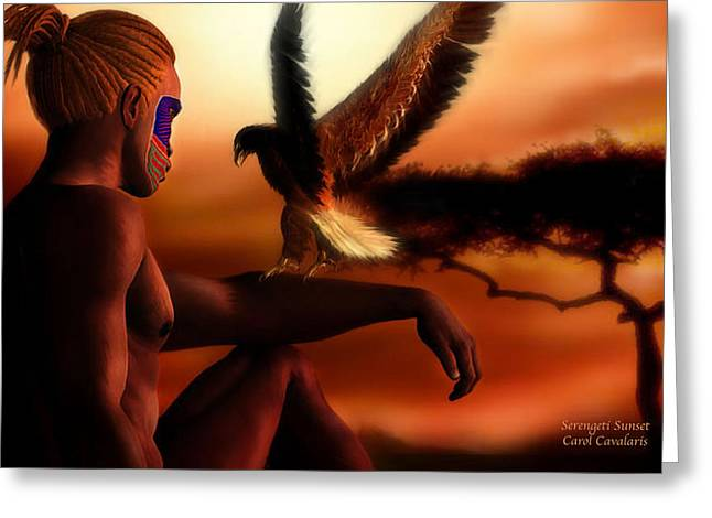 Serengeti Sunset Greeting Card by Carol Cavalaris