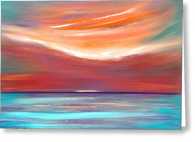 Greeting Cards - Serenity 2 - Abstract Sunset Greeting Card by Gina De Gorna