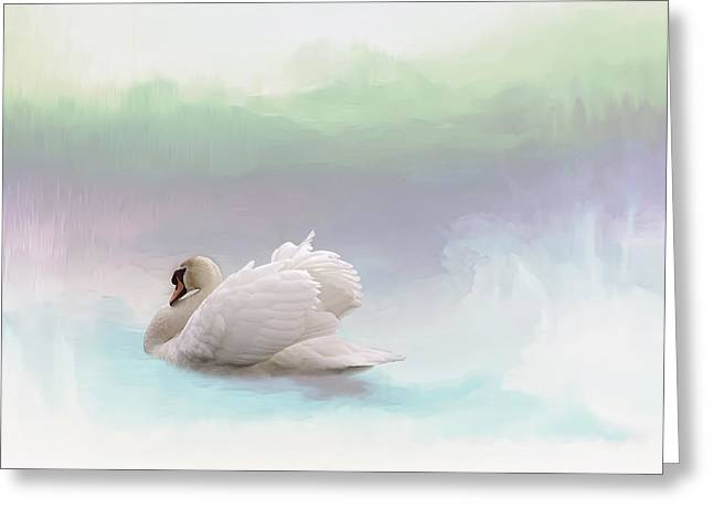 Swans... Greeting Cards - Serenity Greeting Card by Annie  Snel