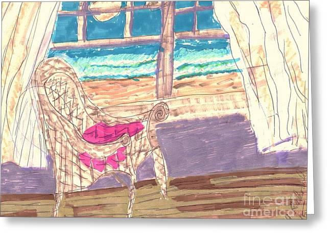 Empty Chairs Mixed Media Greeting Cards - Serenity Greeting Card by Elinor Rakowski