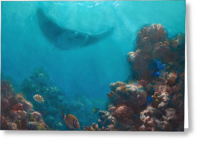 Snorkel Greeting Cards - Serenity - Hawaiian Underwater Reef and Manta Ray Greeting Card by Karen Whitworth