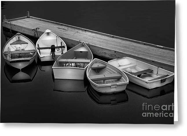 Boats At The Dock Greeting Cards - Serenity on a Maine Harbor-Five Dinghys Black and White by Thomas Schoeller  Greeting Card by Thomas Schoeller