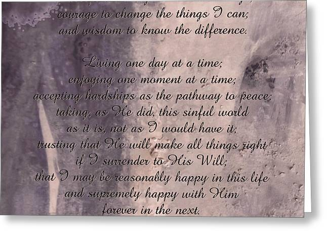 Reinhold Niebuhr Greeting Cards - Serenity Prayer 2 Greeting Card by Andrea Anderegg