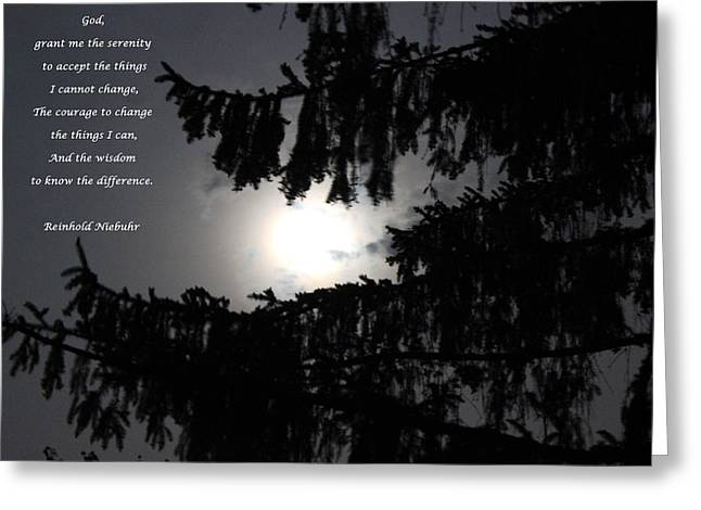 Passover Moon Greeting Cards - Serenity Prayer Greeting Card by Cliff Ball