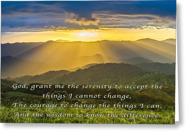 Motivational Poster Greeting Cards - Serenity Prayer Greeting Card by David Simchock