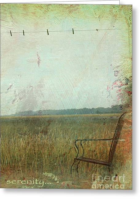 Country Cottage Mixed Media Greeting Cards - Serenity Zen Landscape Greeting Card by ArtyZen Studios - ArtyZen Home
