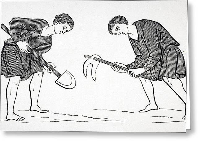 Serfs Labouring In Fields With Hoe And Greeting Card by Vintage Design Pics