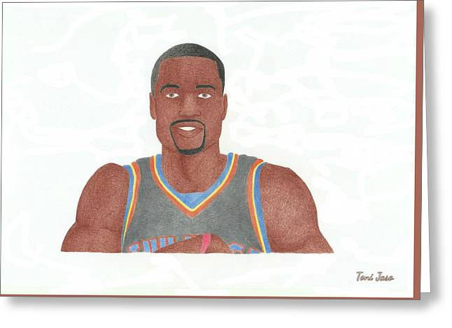 Slam Drawings Greeting Cards - Serge Ibaka Greeting Card by Toni Jaso
