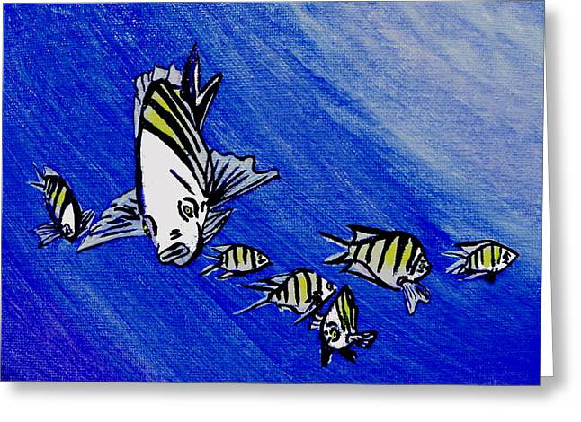 Puffer Fish Greeting Cards - Sergeant Major Fish Greeting Card by W Gilroy