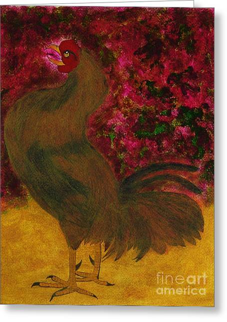 Diaspora Mixed Media Greeting Cards - Serie Flora y Fauna Rooster 2 Greeting Card by Chary Castro-Marin
