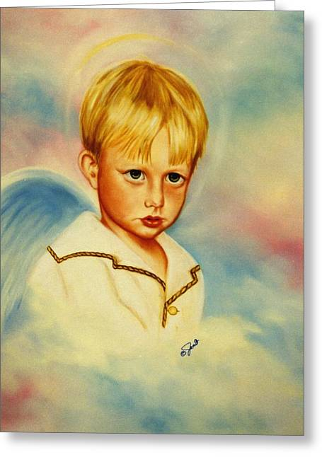 Boy Greeting Cards - Serious Angel Greeting Card by Joni McPherson