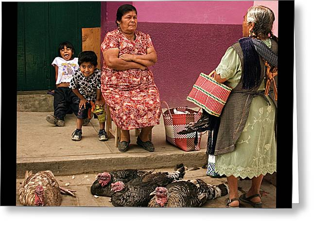 Serious Business - Mayan Family At A Mexican Market Greeting Card by Mitch Spence