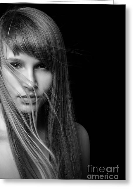 Pensive Greeting Cards - Serious Young Woman Greeting Card by Aleksey Tugolukov