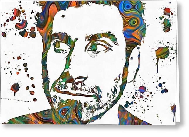 Rock N Roll Mixed Media Greeting Cards - Serj Tankian Paint Splatter Greeting Card by Dan Sproul