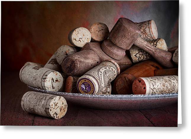 Dish Greeting Cards - Served - Wine Taps and Corks Greeting Card by Tom Mc Nemar