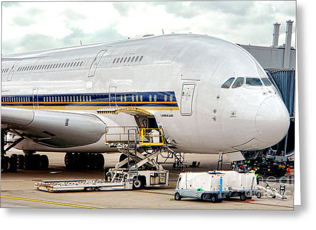 A380 Greeting Cards - Servicing the Giant Greeting Card by Olivier Le Queinec