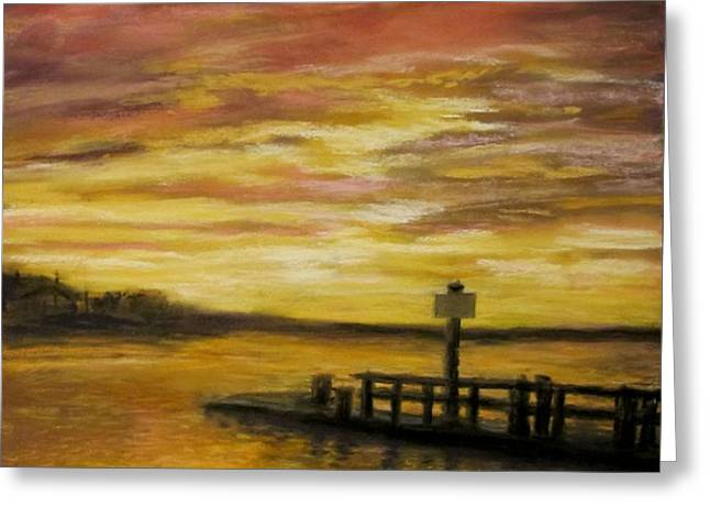 Sesuit Harbor at Sunset Greeting Card by Jack Skinner