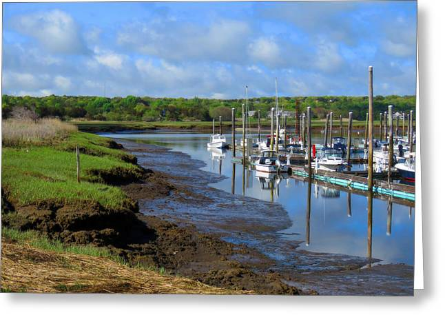 Sesuit Harbor In Spring Greeting Card by Dianne Cowen