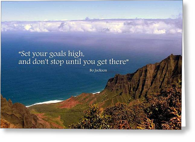 Bo Jackson Greeting Cards - Set Your Goals High Greeting Card by Donna Spadola