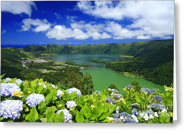 Beautiful Scenery Greeting Cards - Sete Cidades crater Greeting Card by Gaspar Avila