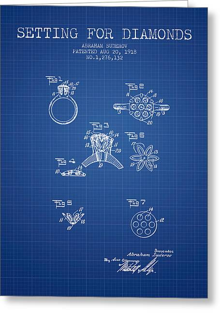 Bracelets Greeting Cards - Setting for Diamonds Patent From 1918 - Blueprint Greeting Card by Aged Pixel