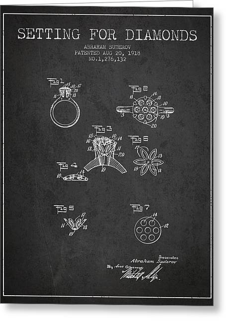 Gemstone Greeting Cards - Setting for Diamonds Patent From 1918 - Charcoal Greeting Card by Aged Pixel