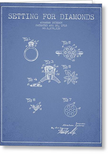 Setting For Diamonds Patent From 1918 - Light Blue Greeting Card by Aged Pixel