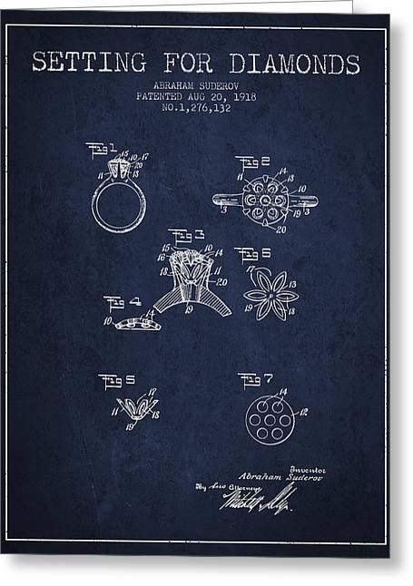 Setting For Diamonds Patent From 1918 - Navy Blue Greeting Card by Aged Pixel