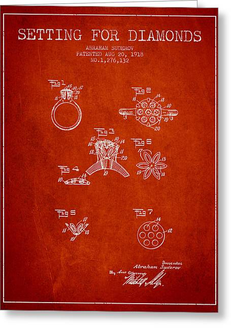 Brooch Greeting Cards - Setting for Diamonds Patent From 1918 - Red Greeting Card by Aged Pixel