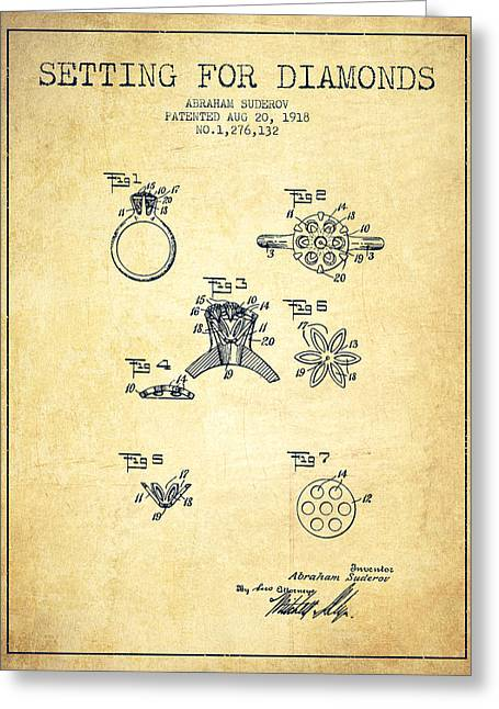 Gemstone Greeting Cards - Setting for Diamonds Patent From 1918 - Vintage Greeting Card by Aged Pixel