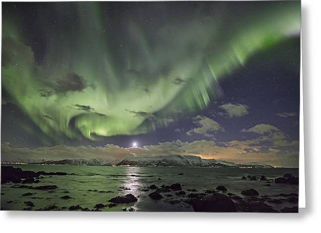 Astrophoto Greeting Cards - Setting moon and Aurora Greeting Card by Frank Olsen