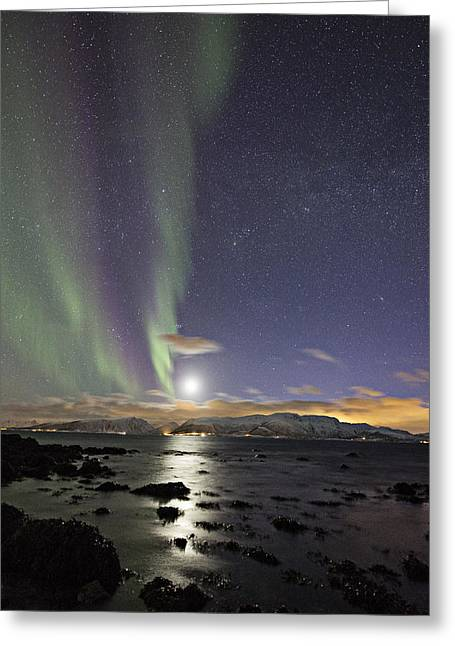 Norway Beach Greeting Cards - Setting moon Greeting Card by Frank Olsen