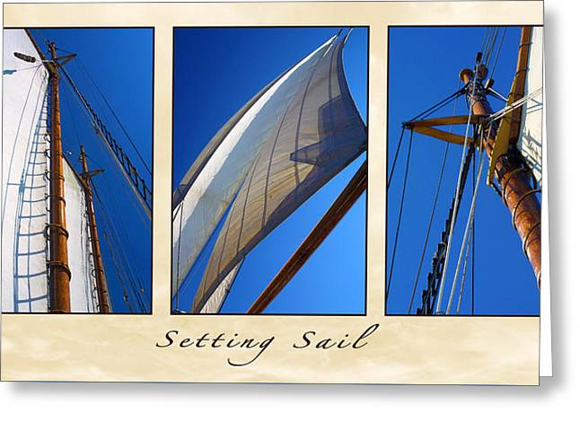 Sailboat Photos Greeting Cards - Setting Sail Triptych Greeting Card by Bill Caldwell -        ABeautifulSky Photography
