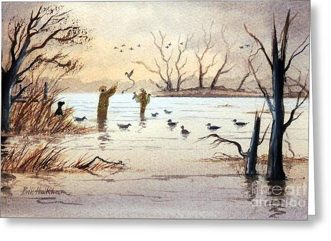 Duck Dynasty Greeting Cards - Setting The Decoys II Greeting Card by Bill Holkham