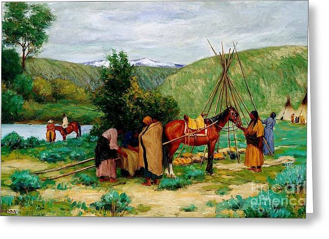 Little Big Horn Greeting Cards - Setting Up Camp - Little Big Horn Greeting Card by Pg Reproductions