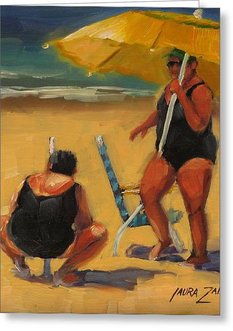 People On Beach Greeting Cards - Setting Up Greeting Card by Laura Lee Zanghetti