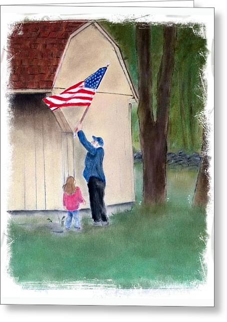 July Pastels Greeting Cards - Setting Up The Flag Greeting Card by Barbara Gulotta