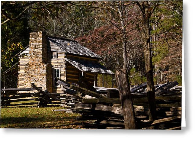 Settler Greeting Cards - Settlers Cabin Cades Cove Greeting Card by Douglas Barnett