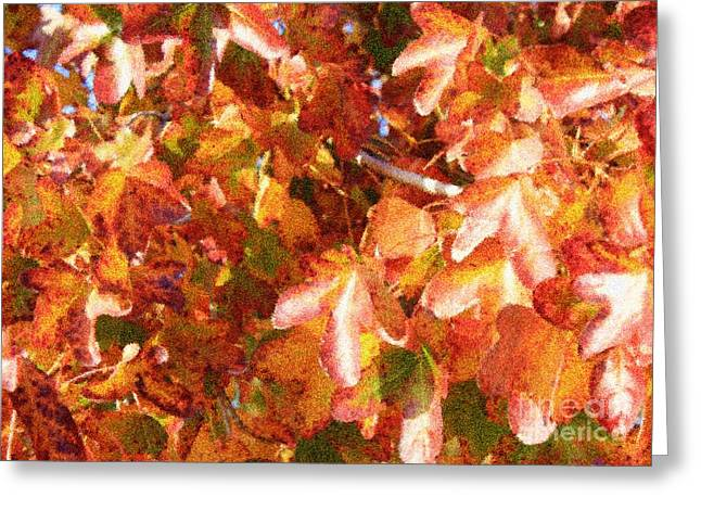 Seurat Greeting Cards - Seurat-Like Fall Leaves Greeting Card by Carol Groenen