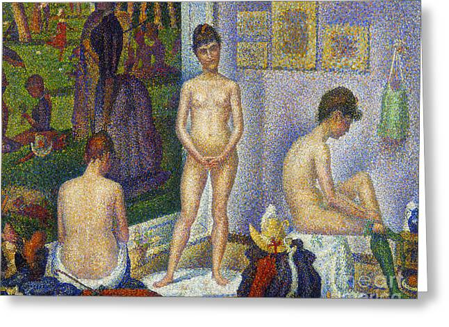 Seurat Greeting Cards - SEURAT: MODELS, c1866 Greeting Card by Granger