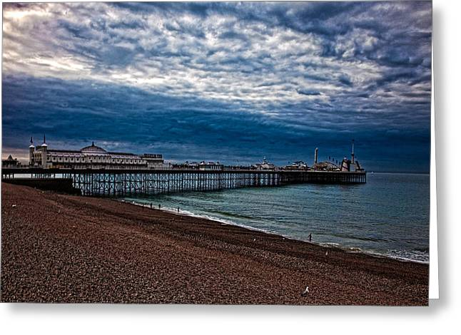 Chris Lord Greeting Cards - Seven AM on Brighton Seafront Greeting Card by Chris Lord