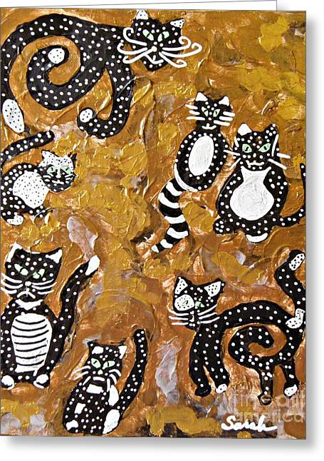 Fanciful Paintings Greeting Cards - Seven Black and White Cats Greeting Card by Sarah Loft