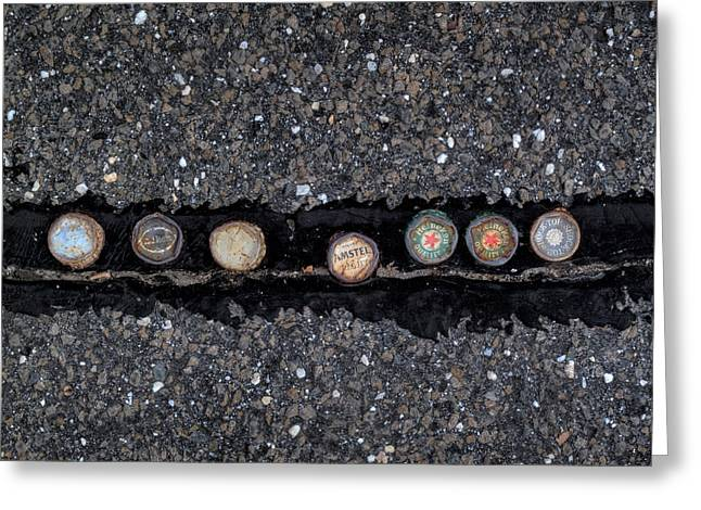 Bottle Cap Greeting Cards - Seven Bottle Caps Greeting Card by Steve Gravano