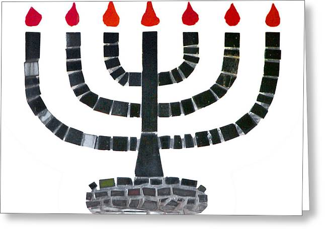 Hanuka Greeting Cards - Seven-branched Temple Menorah Greeting Card by Christine Till