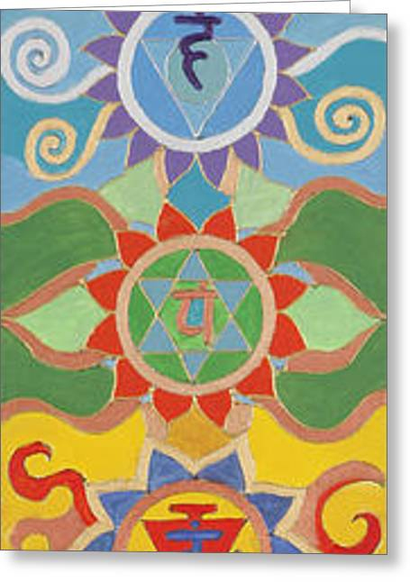 Petra Greeting Cards - Seven Chakras Greeting Card by Sandra Pintaric