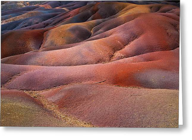 Mauritius Greeting Cards - Seven Colored Earth in Chamarel 8. Series Earth Bodyscapes. Mauritius Greeting Card by Jenny Rainbow