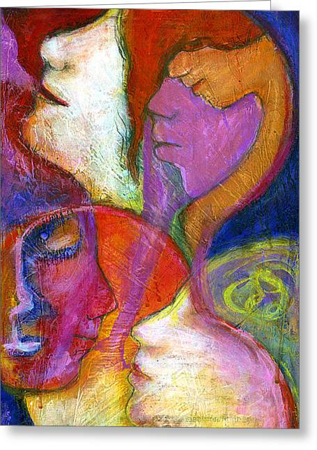 Psychological Greeting Cards - Seven Faces Greeting Card by Claudia Fuenzalida Johns