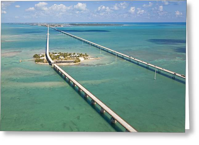 Aerial View Greeting Cards - Seven Mile Bridge Crossing Pigeon Key Greeting Card by Mike Theiss