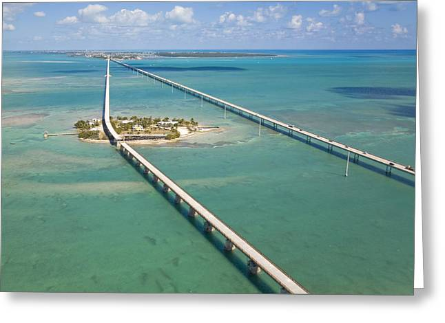 Seven Mile Bridge Crossing Pigeon Key Greeting Card by Mike Theiss