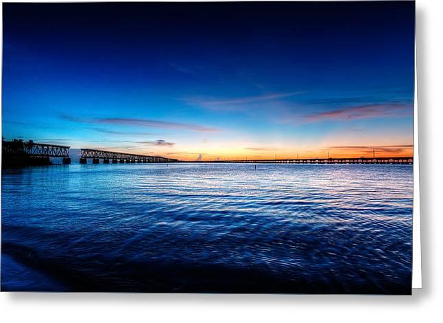 Bahia Honda State Park Greeting Cards - Seven Miles Bridge Blue Hour Greeting Card by Riccardo Mantero